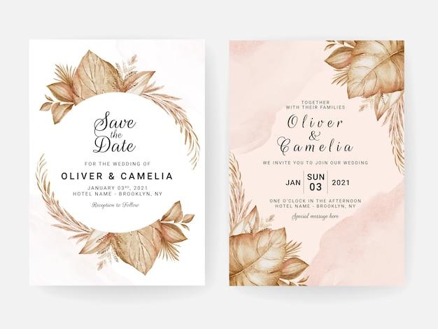 Szablon zaproszenia ślubne z brązową suszoną dekoracją kwiatową i liśćmi. koncepcja projektu karty botanicznej