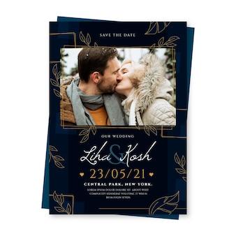 Szablon zaproszenia ślubne z całującą się parą