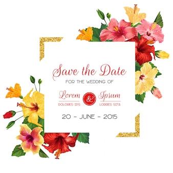 Szablon zaproszenia ślubne z czerwonych kwiatów hibiskusa i złotej ramie