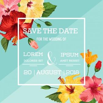 Szablon zaproszenia ślubne z czerwonych kwiatów hibiskusa. zapisz kartę kwiatową data dla pozdrowienia