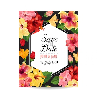 Szablon zaproszenia ślubne z czerwonych kwiatów hibiskusa.