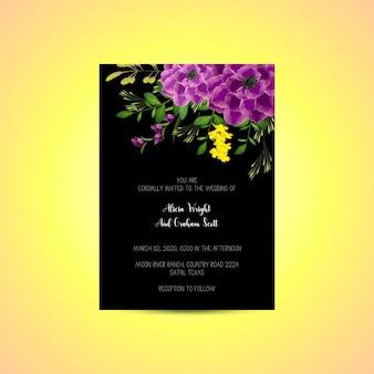 Szablon zaproszenia ślubne z dekoracją bukiet kwiatów róży