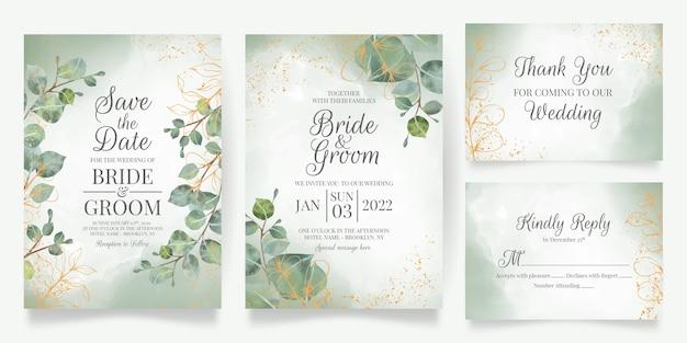 Szablon zaproszenia ślubne z dekoracją liści akwarela