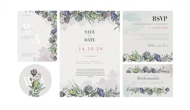 Szablon zaproszenia ślubne z dekoracjami pastelowych kwiatów vintage