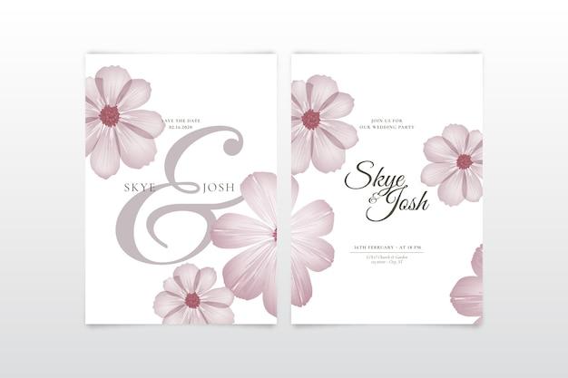 Szablon zaproszenia ślubne z dużym kwiatem