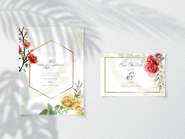 Szablon zaproszenia ślubne z eleganckimi kwiatami
