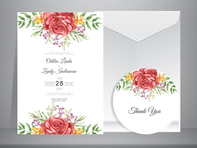 Szablon zaproszenia ślubne z eleganckimi ręcznie rysowane róż