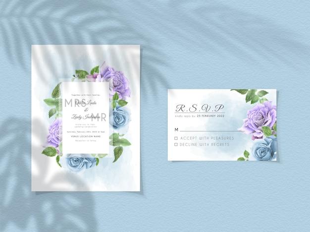 Szablon zaproszenia ślubne z fioletowymi i królewskimi niebieskimi różami