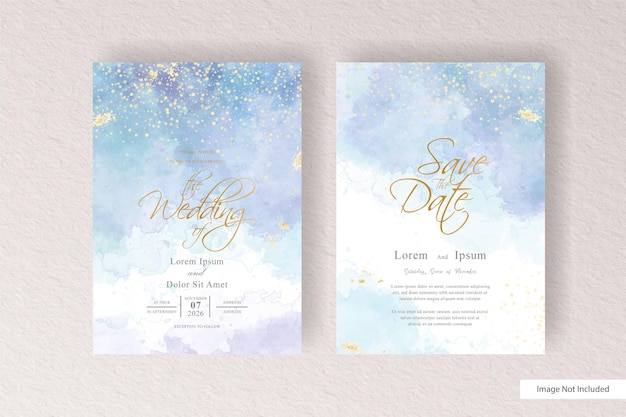 Szablon zaproszenia ślubne z kolorowe akwarele i ręcznie rysowane akwarela