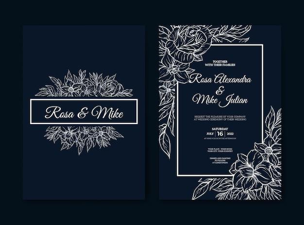 Szablon zaproszenia ślubne z konturem tropikalnych kwiatów