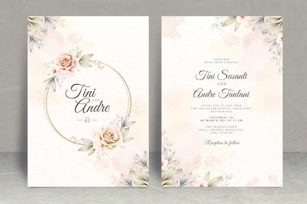 Szablon zaproszenia ślubne z kwiatami i liśćmi akwarela