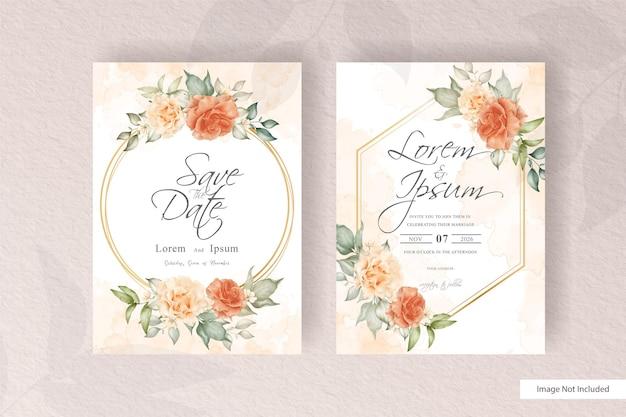 Szablon zaproszenia ślubne z kwiatami i liśćmi. modne rośliny wianek, elementy rustykalne w stylu vintage, karty z ramą w kwiaty.