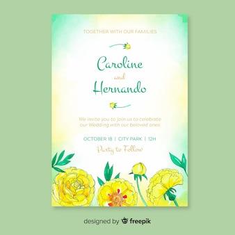 Szablon zaproszenia ślubne z kwiatami piwonii