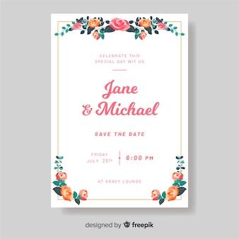 Szablon zaproszenia ślubne z kwiatami