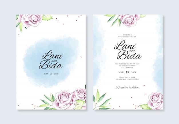 Szablon zaproszenia ślubne z kwiatem akwarela i plamami