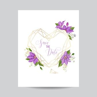 Szablon zaproszenia ślubne z kwiatów powojnika i złotej ramie. tropikalny kwiatowy zapisać kartę data. egzotyczny kwiat romantyczny projekt na powitanie pocztówka, urodziny, rocznica. ilustracja wektorowa