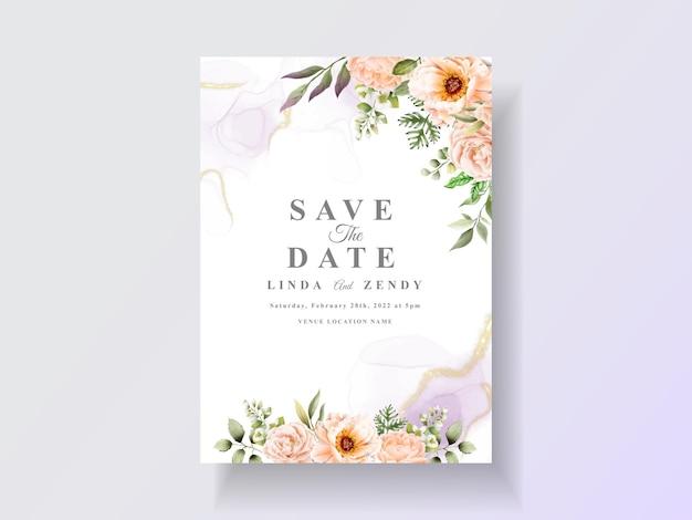 Szablon zaproszenia ślubne z kwiatową akwarelą