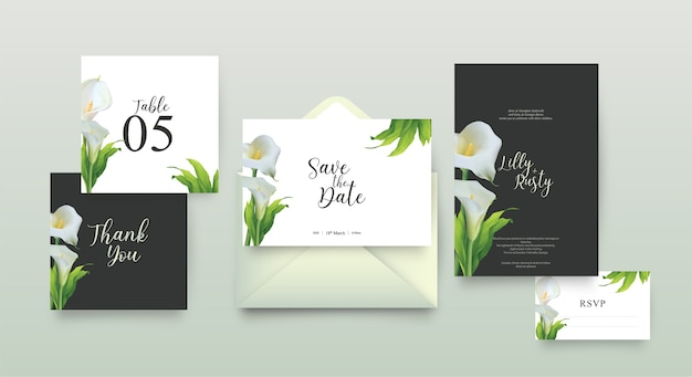 Szablon zaproszenia ślubne z kwiatowy wzór