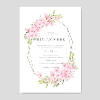 Szablon zaproszenia ślubne z kwiatowym wzorem cherry blossom