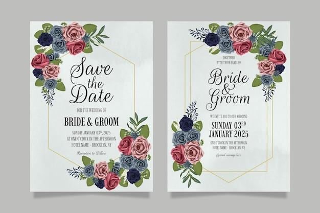Szablon zaproszenia ślubne z kwiatowym wzorem róż akwarela