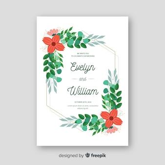 Szablon zaproszenia ślubne z kwiatowymi elementami