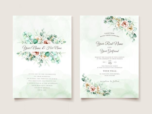 Szablon zaproszenia ślubne z liści eukaliptusa