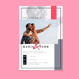 Szablon zaproszenia ślubne z mężczyzną i kobietą