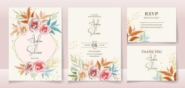 Szablon zaproszenia ślubne z miękkimi kwiatami akwarela