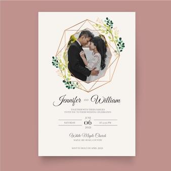 Szablon zaproszenia ślubne z młodej pary
