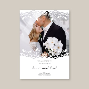 Szablon zaproszenia ślubne z nowożeńcami