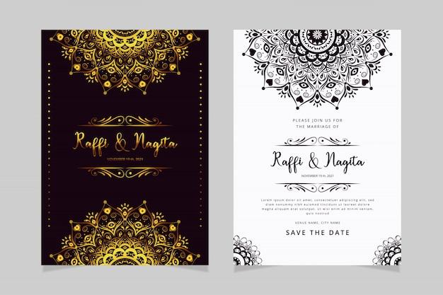 Szablon zaproszenia ślubne z ornamentem mandali