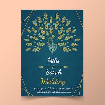 Szablon zaproszenia ślubne z pawich piór