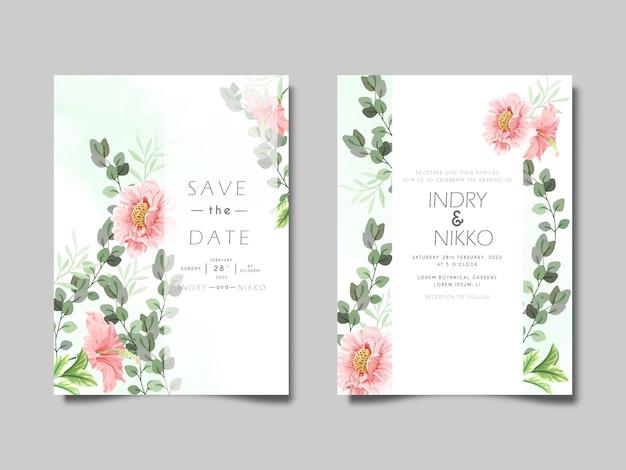 Szablon zaproszenia ślubne z piękny i elegancki kwiatowy