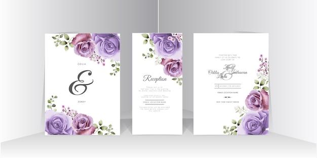 Szablon zaproszenia ślubne z pięknym fioletowym wzorem róży