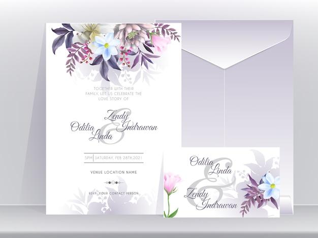 Szablon zaproszenia ślubne z pięknym i eleganckim kwiatowym fioletowym wydaniem