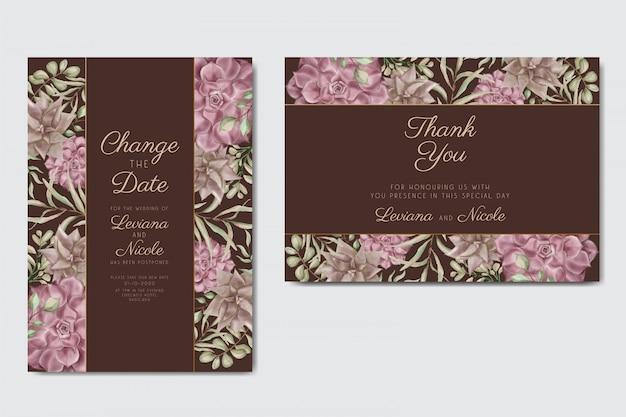 Szablon zaproszenia ślubne z pięknym kwiatowym ozdobnym tłem