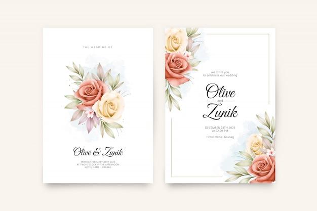 Szablon zaproszenia ślubne z pięknymi kwiatami i liśćmi akwarela
