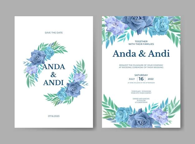 Szablon zaproszenia ślubne z pięknymi kwiatami