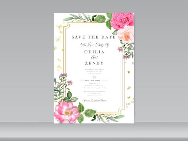 Szablon zaproszenia ślubne z pięknymi motywami kwiatowymi