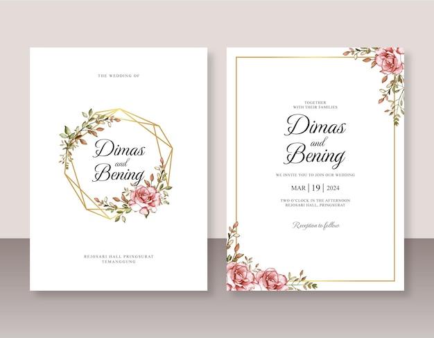 Szablon zaproszenia ślubne z różanym akwarelą