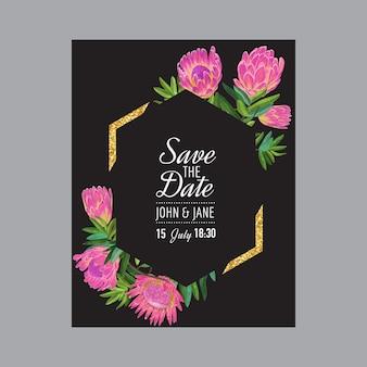 Szablon zaproszenia ślubne z różowe kwiaty protea i złotej ramie. zapisz datę kwiatowy karty na pozdrowienia, rocznicę, urodziny, przyjęcie baby shower. projekt botaniczny. ilustracja wektorowa