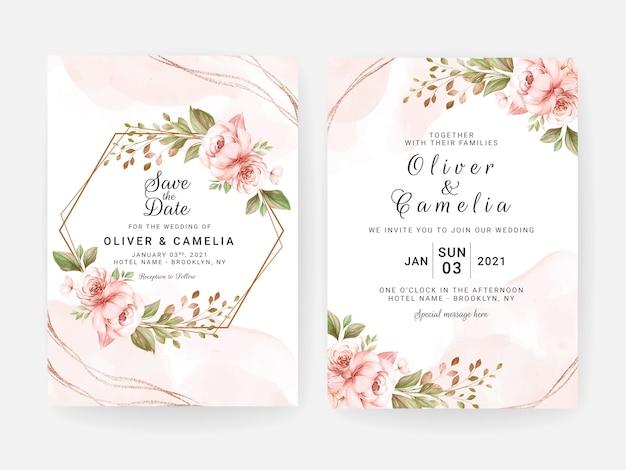 Szablon zaproszenia ślubne z suszonymi kwiatami brzoskwini i liśćmi. koncepcja projektu karty botanicznej