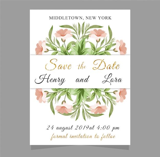 Szablon zaproszenia ślubne z tekstem i kwiat, roślina, liść