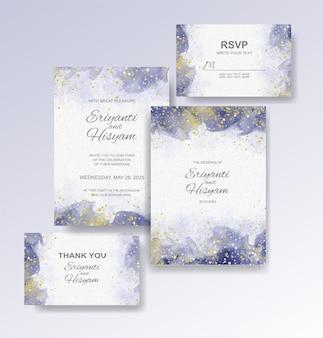 Szablon zaproszenia ślubne z tłem akwarela
