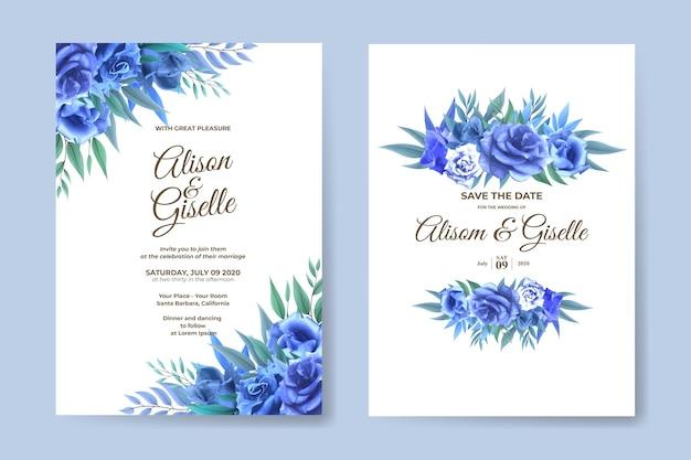 Szablon zaproszenia ślubne z zestawem niebieski kwiat róży