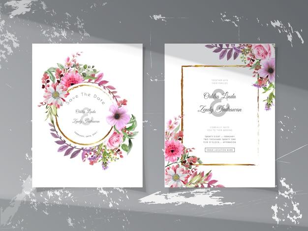 Szablon zaproszenia ślubne z zielenią i pięknym ręcznie rysowane kwiatowy wzór