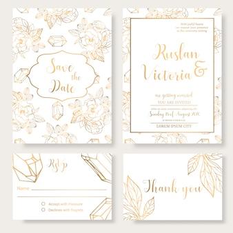 Szablon zaproszenia ślubne z złote elementy dekoracyjne i biżuteria