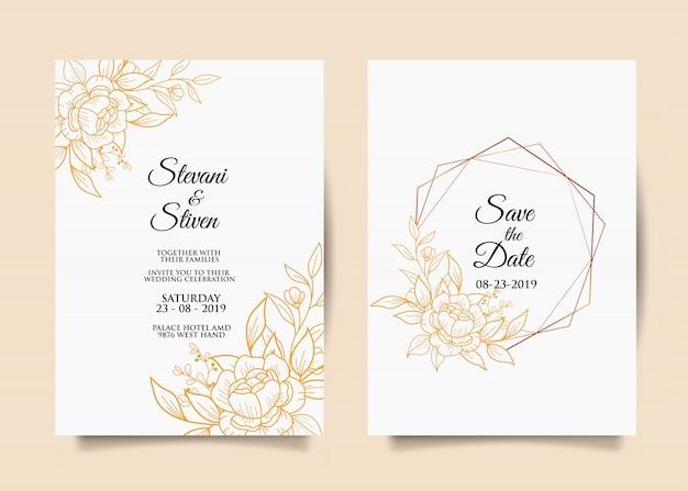 Szablon zaproszenia ślubne z złoty kwiat