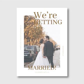 Szablon zaproszenia ślubne ze zdjęciem