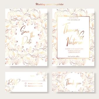 Szablon zaproszenia ślubne ze złotymi elementami dekoracyjnymi